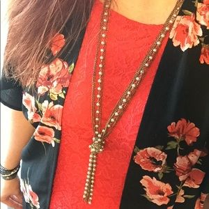 Maurices gold and bead necklace